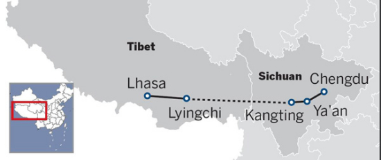 A route map of the Sichuan-Tibet railway